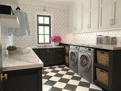 Outstanding black and white laundry room ideas 29