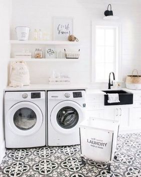 Outstanding black and white laundry room ideas 32