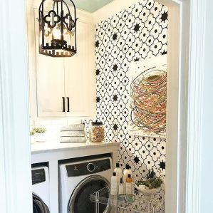 Outstanding black and white laundry room ideas 36