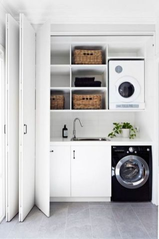 Outstanding black and white laundry room ideas 49