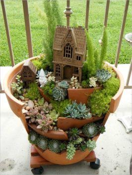Stunning fairy garden decor ideas 44