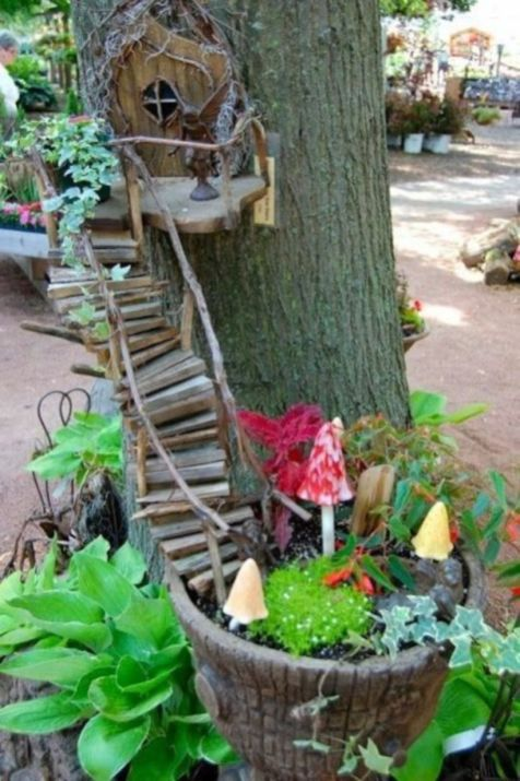 Stunning fairy garden decor ideas 48