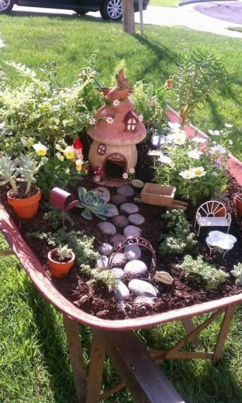 Stunning fairy garden decor ideas 57