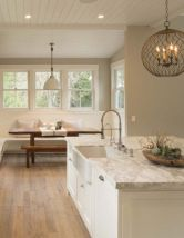 Stylish modern farmhouse kitchen makeover decor ideas 10