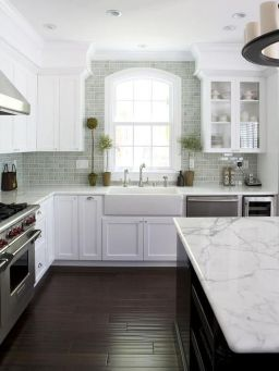 Stylish modern farmhouse kitchen makeover decor ideas 16