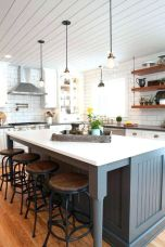 Stylish modern farmhouse kitchen makeover decor ideas 34