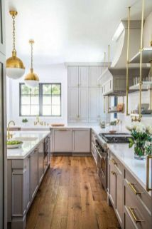 Stylish modern farmhouse kitchen makeover decor ideas 43