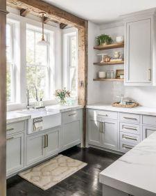 Stylish modern farmhouse kitchen makeover decor ideas 44