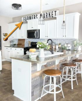 Stylish modern farmhouse kitchen makeover decor ideas 55