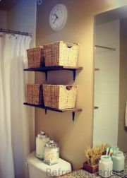Lovely diy bathroom organisation shelves ideas 18