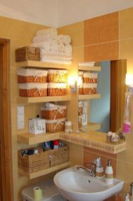 Lovely diy bathroom organisation shelves ideas 34