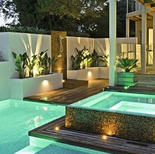 Minimalist small pool design with beautiful garden inside 01