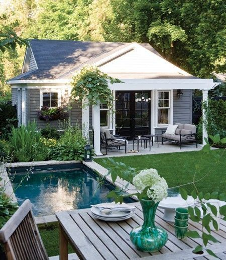 Minimalist small pool design with beautiful garden inside 10