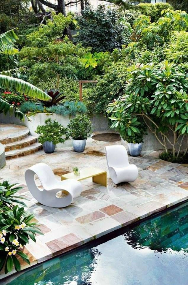 Minimalist small pool design with beautiful garden inside 45