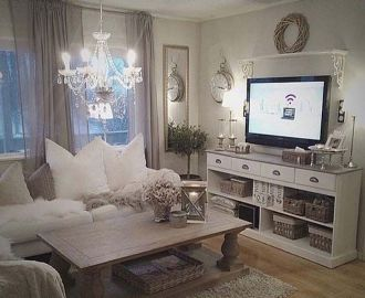 Romantic rustic farmhouse living room decor ideas 15