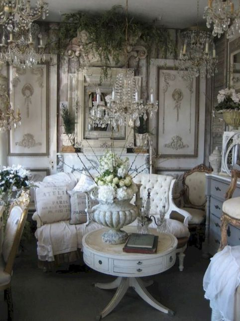 Romantic rustic farmhouse living room decor ideas 39