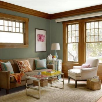 Amazing living room paint ideas by brown furniture 06