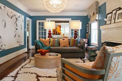 Amazing living room paint ideas by brown furniture 08