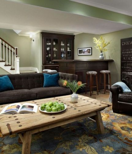 Amazing living room paint ideas by brown furniture 32