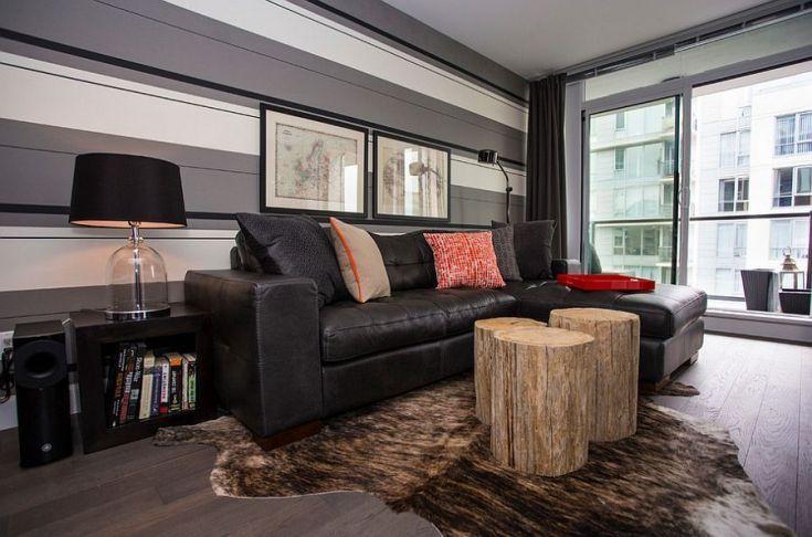 Fascinating striped walls living room designs ideas 26
