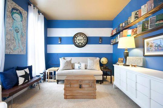 Fascinating striped walls living room designs ideas 44