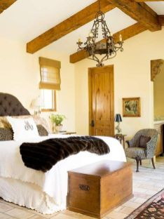 Pretty bedroom designs ideas with exposed wooden beams 06