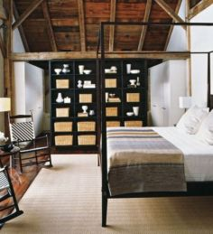 Pretty bedroom designs ideas with exposed wooden beams 16