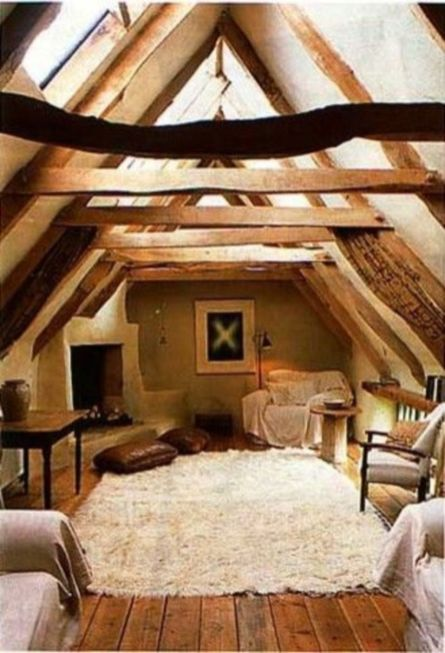 Pretty bedroom designs ideas with exposed wooden beams 37