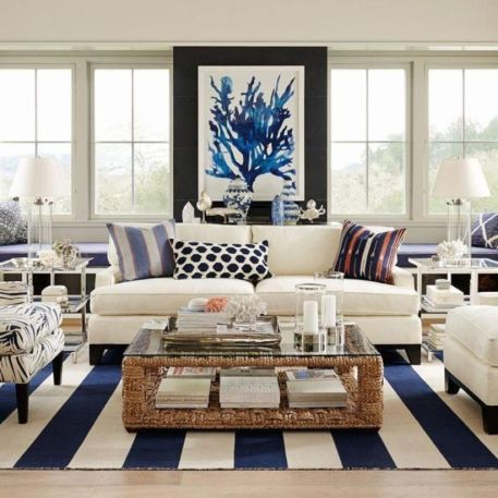 Stylish coastal living room decoration ideas 29