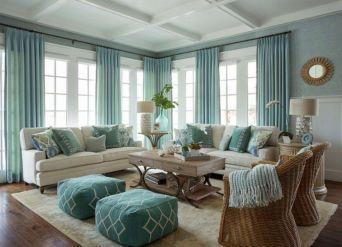 Stylish coastal living room decoration ideas 37