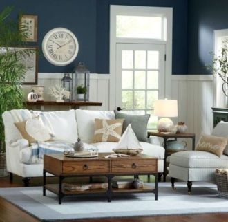 Stylish coastal living room decoration ideas 43