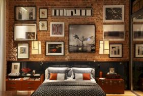 Modern faux brick wall art design decorating ideas for your bedroom 18