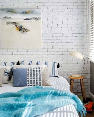 Modern faux brick wall art design decorating ideas for your bedroom 22