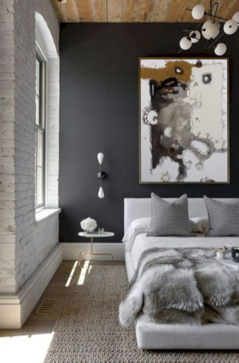 Modern faux brick wall art design decorating ideas for your bedroom 24