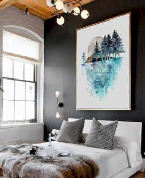 Modern faux brick wall art design decorating ideas for your bedroom 25
