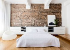 Modern faux brick wall art design decorating ideas for your bedroom 29