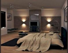 Modern faux brick wall art design decorating ideas for your bedroom 30
