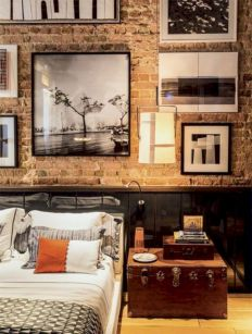 Modern faux brick wall art design decorating ideas for your bedroom 32