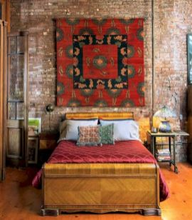 Modern faux brick wall art design decorating ideas for your bedroom 37