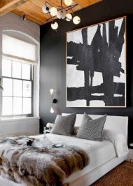 Modern faux brick wall art design decorating ideas for your bedroom 43