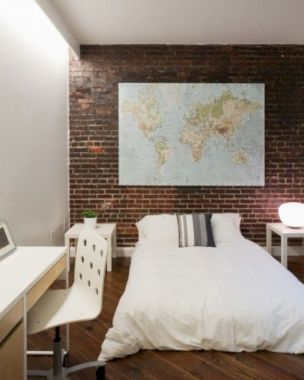 Modern faux brick wall art design decorating ideas for your bedroom 46