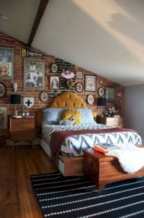 Modern faux brick wall art design decorating ideas for your bedroom 47