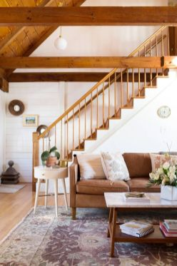 Awesome big living room design ideas with stairs 33