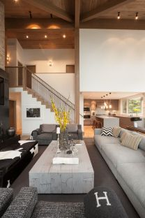 Awesome big living room design ideas with stairs 41