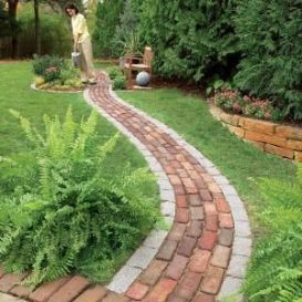 Elegant backyard landscaping ideas using bricks 16