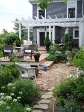 Elegant backyard landscaping ideas using bricks 51