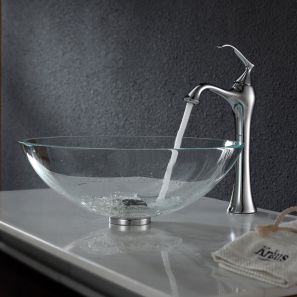 Elegant bowl less sink bathroom ideas 01