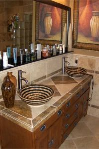 Elegant bowl less sink bathroom ideas 04