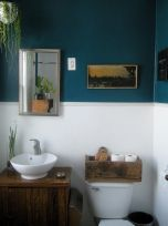 Elegant bowl less sink bathroom ideas 11