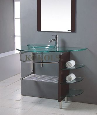 Elegant bowl less sink bathroom ideas 13